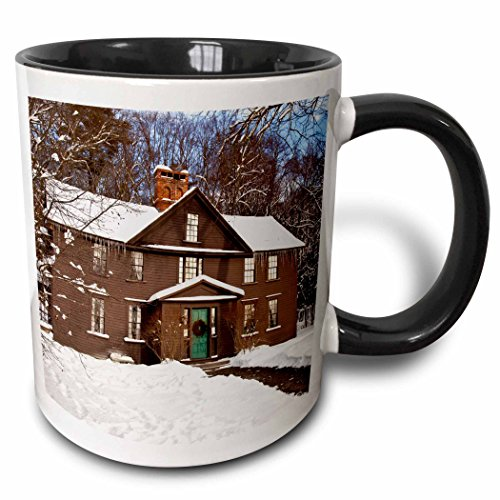 - 3dRose mug_144609_4 Louisa May Alcott Home, Concord, Massachusetts, USA-Us22 Bjn0040-Brian Jannsen Ceramic, 11 oz, Black/White