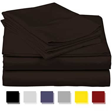 True Luxury 1000-Thread-Count 100% Egyptian Cotton Bed Sheets, 4-Pc Queen Dark Brown Sheet Set, Single Ply Long-Staple Yarns, Sateen Weave, Fits Mattress Upto 18'' Deep Pocket