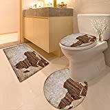 3 Piece Extended Bath mat Set Geography Theme Grunge Vintage Wooden Plank Africa Map Digital Print Tan Umber and 3 Piece Toilet Cover Set
