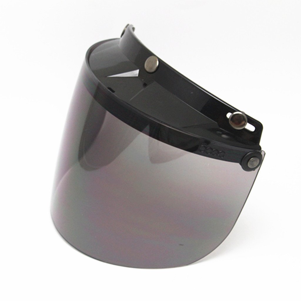 Shiwaki Universal 3 Snap Button Visor for Open Face Motorcycle Motocross Racing Helmet Wind Shield Flip-Up Down Smoke