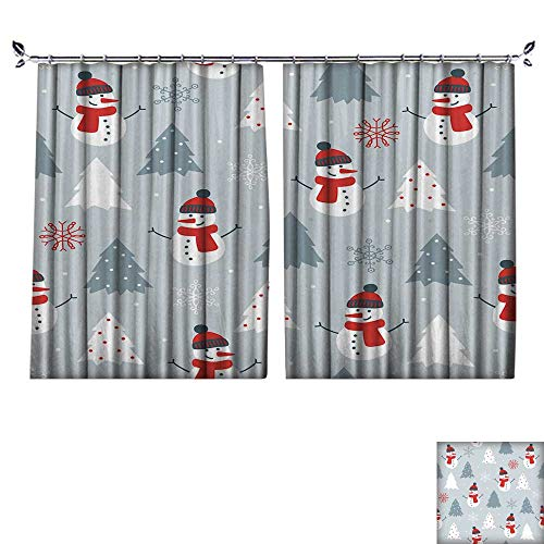DESPKON UV-Proof Polyester Material Christmas Seamless Pattern with Snowman,fir Trees and Snowflakes Perfect for Wallpaper Floor Curtains W63 x L72 -