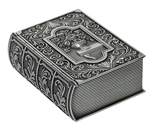 JustNile Antique Pewter-Finished Embossed Metal Trinket/Jewelry Box - Book with Filigree Embellishment