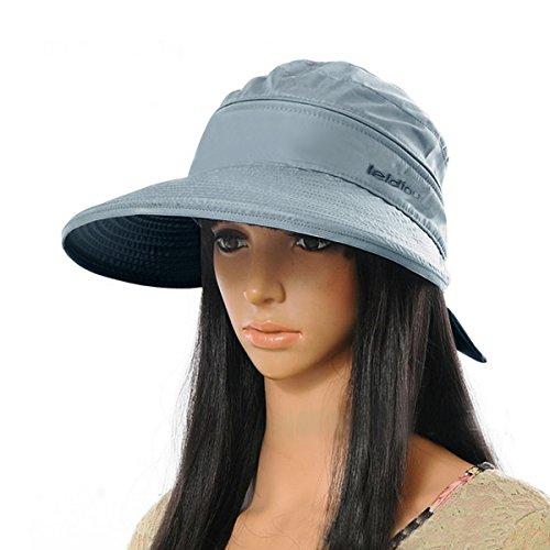 Aisa Women Bowknot Sun Hat Wide Large Brim Visor Hat Cap Summer Beach Hat Color Grey