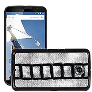 Hot Style Cell Phone PC Hard Case Cover // M00150410 Sewing Machine Embroidery Black White // LG Google Nexus 6