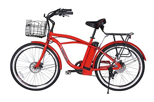 NEWPORT Beach Cruiser Lithium Battery Electric Bicycle Bundled with Safecastle Stainless Steel Waterbottle- Red Color