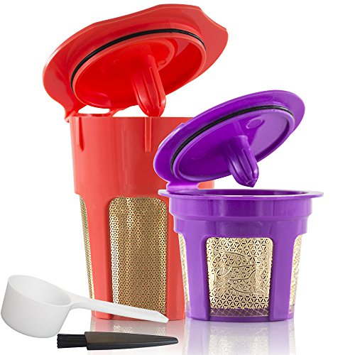 BRBHOM 24K Gold Reusable K Filters and Refillable K Carafe Cups Coffee Filters Capsule Pods for K2.0 and 1.0 Brewers