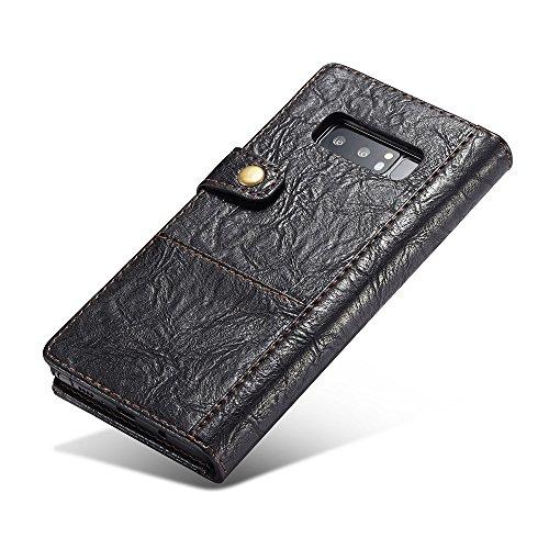 Grandcaser Funda para Samsung Galaxy Note 8,Rugged Armor Premium Cuero Book Style Protectora Flip Wallet Billetera Carcasa con Porta Tarjetas y Ranura Case Cover - Marrón Negro