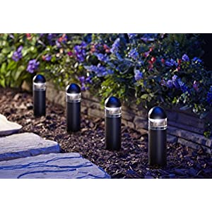 Moonrays Metal Bollard LED Landscape Lighting (Low Voltage 1-Watt, Black)