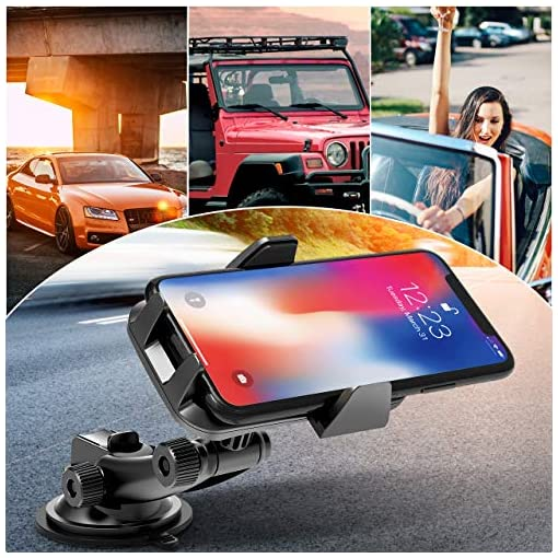 AIKELA Car Phone Holder, 3 in 1 Phone Mount 360° Rotation Car Cradle for Windshield Dashboard Air Vent, One-touch… Amazon choices [tag]