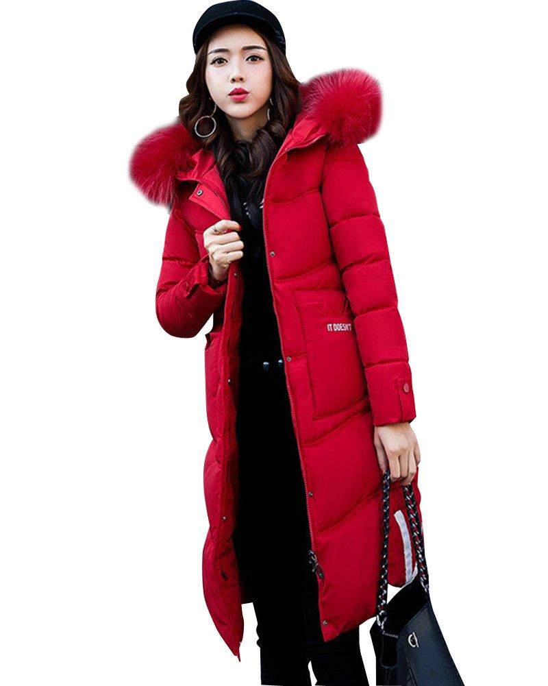 Mujeres invierno Parka caliente largo cuello de piel de abrigo con capucha chaqueta