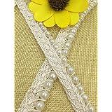 2 Yds Artificial Pearl Beaded Lace Trim Vintage Mesh Fabric Paillette Lace Beaded Pearl Trim Braid Lace Applique White