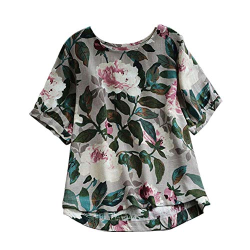 JOFOW Shirts Womens Cotton Linen Boho Flowers Leaves Floral Print O Crew Boat Neck Blouses Short Sleeve Loose Tops Plus Size (M,Green)