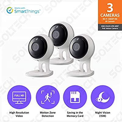 Samsung Wisenet SNH-V6431BN SmartCam 1080p Full HD PoE Wi-Fi Indoor IP Camera Three Pack (Certified Refurbished) from Samsung Wisenet