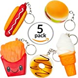 Coral Entertainments Squishies Set- American Food 5 Pcs Squishy Toys Hot Dog, Hamburger, French Fries, Donut & Ice Cream. Slow Rising Squeeze Scented Charms, Stress Relief Toy with Key-Chains