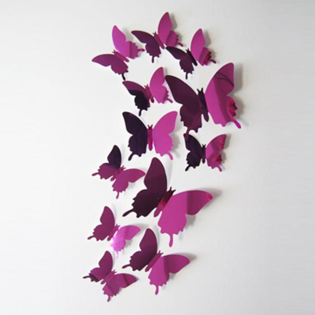 FORH 12 PCS 3D Schmetterlinge Wanddeko Aufkleber Abziehbilder Wand Aufkleber Hauptdekorationen Wandtattoo Schmetterlings Regenbogen Wand-dekor Kinder Baby Schlafzimmer Deko (Pink)