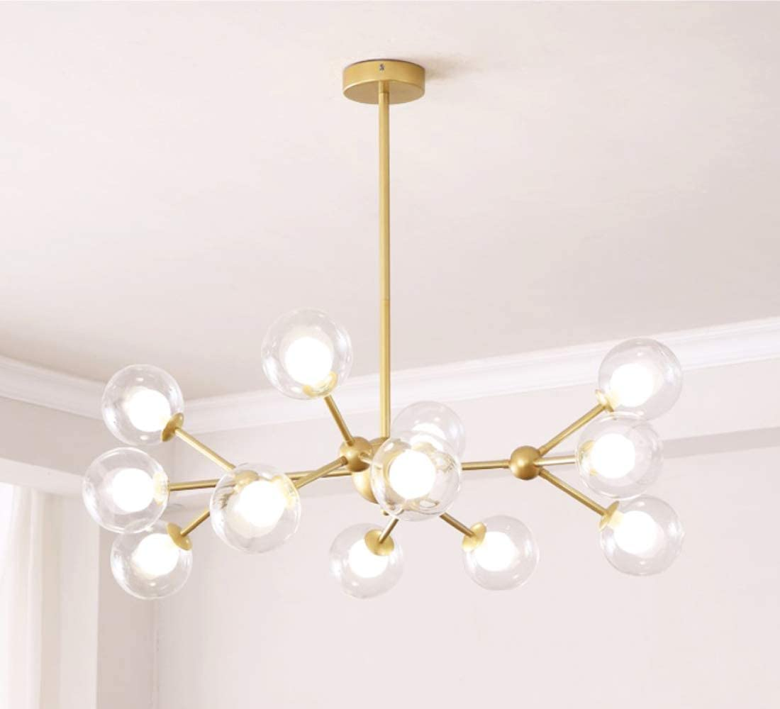 Dellemade XD00940 Sputnik Chandelier For Bedroom, Globe Ceiling Light For Living Room, 12 Lights, G9 LED Bulbs Included, Golden - - Amazon.com