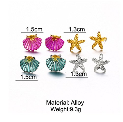 4 Pairs Earrings Set Symmetrical Starfish Shell Earrings Colored s. by PG-kisseller (Image #1)