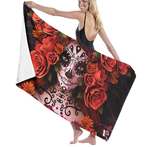 NiYoung Super Soft 100% Polyester Cotton Bath Towels Sugar Skulls and Roses Day of Dead Halloween Quick Drying Wash Cloths Shower Towel Fitness Towel Bath Sheets, Machine Washable Bathroom Towel