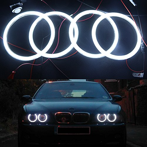 - NSLUMO 4x 120MM Error Free 3014SMD white LED Angel Eye Halo headlight for BMW E30 E32 E34 3 5 7 series 12V Car auto Parking drl kit (BMW E30 E32 E34)