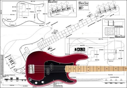 Plan of Fender Precision Bass 4 String - Full Scale Print by Luthiers Supplies
