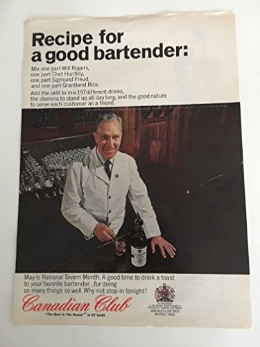 1965 Canadian Club Good Bartender Magazine Print Advertisement