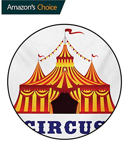 (RUGSMAT Circus Round Rug,Illustration of Old Striped Tent in Retro Style Old Fashion Joy Theater Art Carpet Door Pad for Bedroom/Living Room/Balcony/Kitchen Mat,Round-59 Inch Red Yellow White)