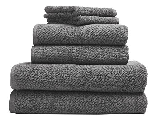 Coyuchi Air Weight Organic 6pc Towel Set, BT, HT, WC, Slate by Coyuchi