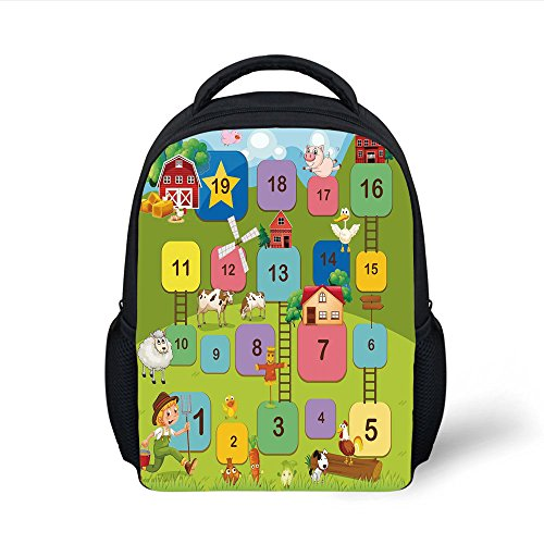 iPrint Kids School Backpack Board Game,Different Colored Square Blocks Numbers Ladders Farmer Boy Field Agriculture Decorative,Multicolor Plain Bookbag Travel Daypack