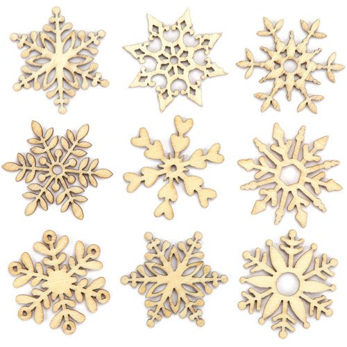(Baker Ross Mini Wooden Snowflake Toppers Creative Xmas Art Supplies for Christmas Crafts and Decorations (Pack of 45))