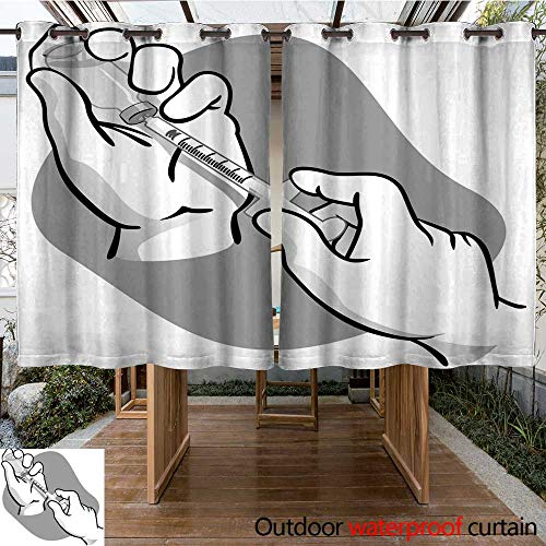 RenteriaDecor Outdoor Curtains for Patio Sheer First aid Person Picking up Contents of a ampoule with Syringe Black and White Ideal for Training Material catalogs and W84 x L72