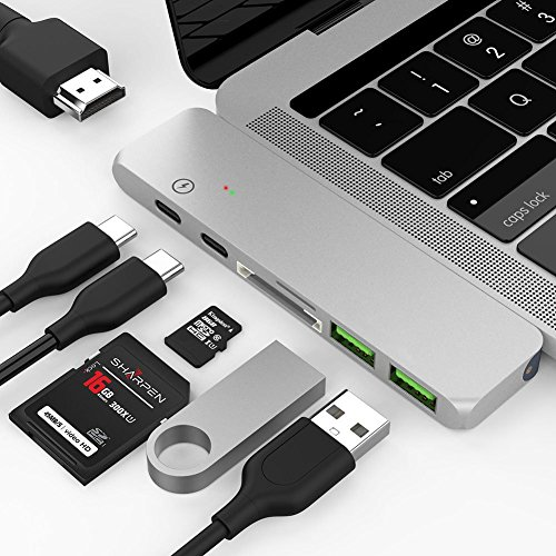 Price comparison product image USB C Hub Adapter,7 in 1 Dual Type-C Docking Station Thunderbolt 3 Hub for 2016/2017 MacBook Pro with 100W Power Delivery,USB-C,4K HDMI,2xUSB3.0,SD and MicroSD Card Reader(SILVER)