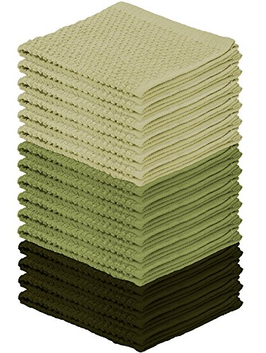DecorRack 16 Pack Kitchen Dish Towels, 100% Cotton Wash Clot