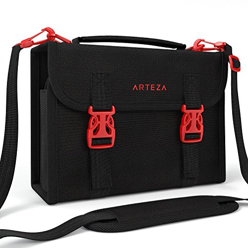 Arteza Marker Pen Organizer Case with 108 Slots, Removable Baldric, Zipper Pocket and Carrying Handle ()