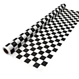 Party Essentials 4015BW Heavy Duty Printed Plastic Banquet Table Roll, 40-Inch by 150-Feet, Black/White
