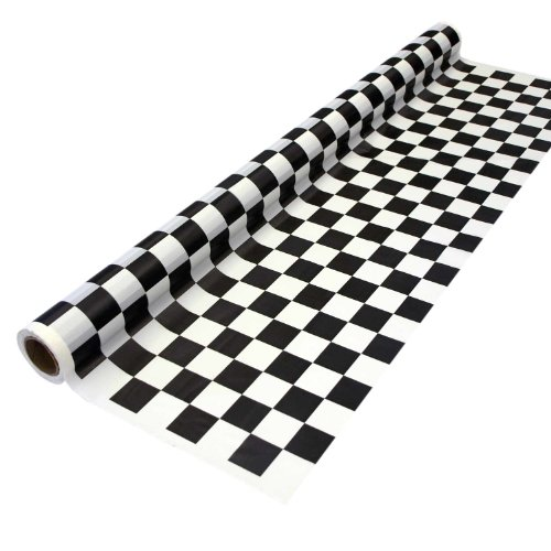 Racing Cut Outs (Party Essentials Heavy Duty Printed Plastic Banquet Table Roll Available in 27 Colors, 40