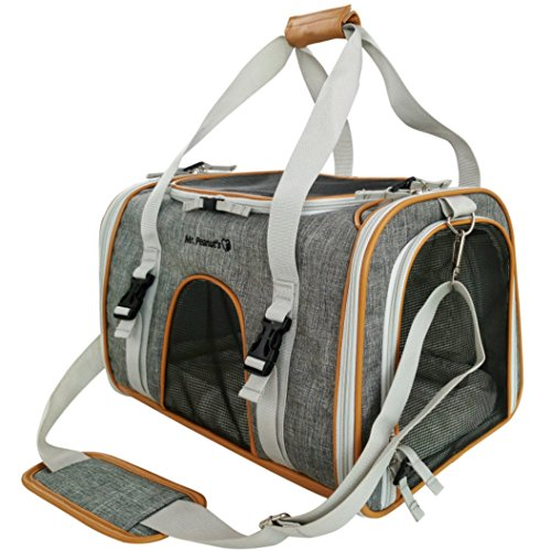 Mr. Peanut's Expandable Airline Approved Soft Sided Pet Carrier by, Luxury Travel Tote with Premium Zippers & Safety Clasps, Plush Faux Fleece Bedding with Sturdy Plywood Base, 18LX10.5WX11 H (Plush Carrier Pet)