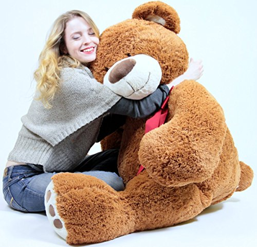 5172DajeD0L - 5 Foot Very Big Smiling Teddy Bear Five Feet Tall Cookie Dough Brown Color with Bigfoot Paws Giant Stuffed Animal Bear