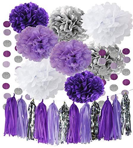 Purple And Silver Decorations (Monkey Home Bridal Shower Decorations Purple White Silver Tissue Pom Pom Amaranth Purple Silver Circle Paper Garland for Baby Shower Decorations/Birthday)