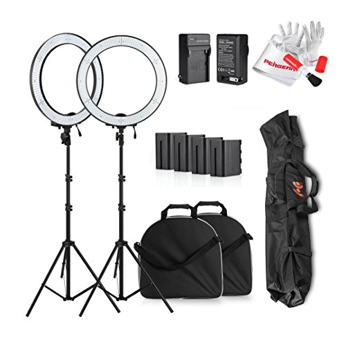 Professional LA-650B Photography 600 LED Ring Video Light Dual Power Supply Stepless Adjustable LED Video Lighting Kit with 6600mah Battery Pack and Light Stand for Video, Portrait and Photography Lighting - 2 Set