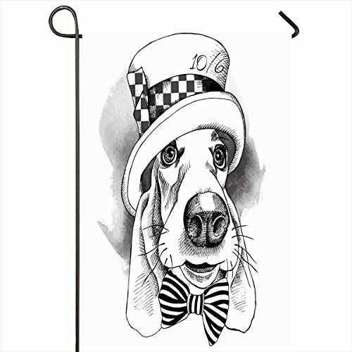 Ahawoso Outdoor Garden Flag 12x18 Inches St Red Alice Dog Basset Hound Hatter Top Black Bow Cap Character Design Hand Two Sides Seasonal Home Decor House Yard Sign Banner