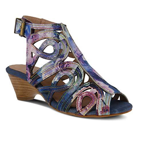 (L'ARTISTE Women's Flourisha Leather Ankle Strap Sandal Blue Multi)