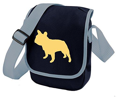 French Bulldog Bag Reporter Bag Dog Walkers Shoulder Bag Frenchie Silhouette French Bulldog Gift Choice of Colours Cream Dog Blue Bag