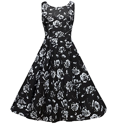 Boat Flowers (NINEWE Women's 1950s Vintage Flower Print Rockabilly Swing Dress Black flower)