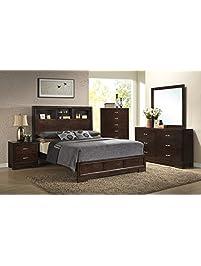 roundhill furniture montana modern 5piece wood bedroom set with bed dresser mirror