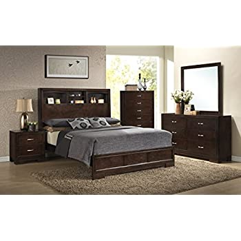 . Roundhill Furniture Montana Modern 5 Piece Wood Bedroom Set with Bed   Dresser  Mirror  Nightstand  Chest  Queen  Walnut