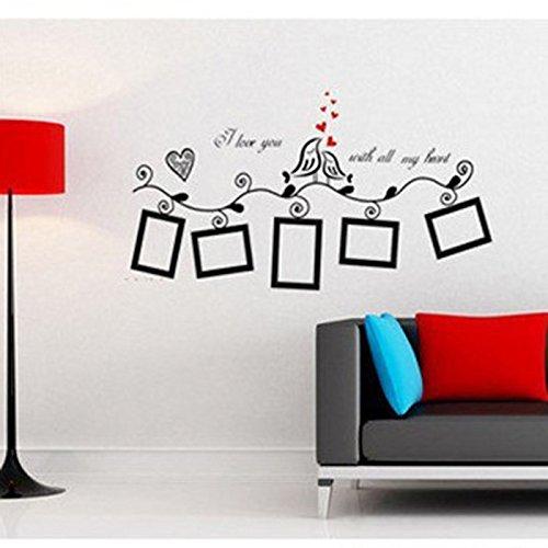 HuaYang Love Heart Bird Wall Art Stickers Vinyl Decals Family Photo ...