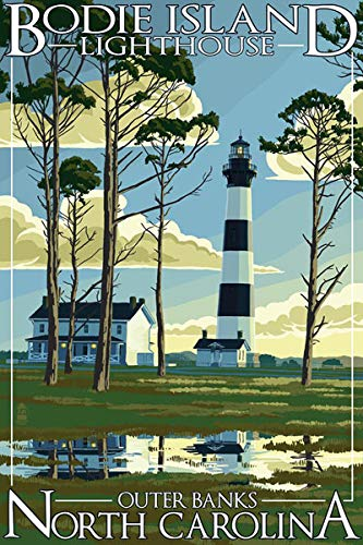 Lighthouse Bodie - American Vinyl Vintage Art Bodie Island Lighthouse Outer Banks North Carolina Sticker (nc Travel)