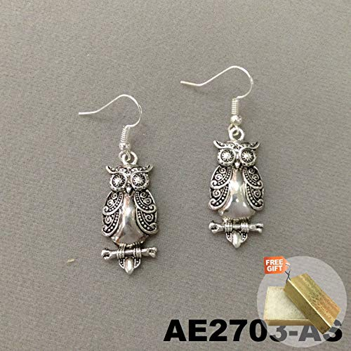 Silver Finish Victoria Engraved Design Forest Owl Drop Dangle Earrings For Women Set AE2703-AS + Gold Cotton Filled Gift Box for Free