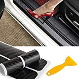 4Pcs Carbon Fiber Anti Scratch Car Door Sill Sticker Scuff Plate Cover Panel Step Protector