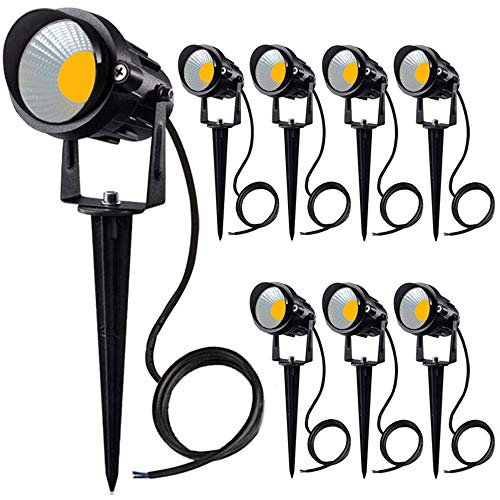 YOMOSA 10W LED Landscape Lights Low Voltage Pathway Lighting IP66 Waterproof 12V 24V Spotlights Warm White for Driveway, Yard, Lawn, Patio, Swimming Pool, Garden(8pack)
